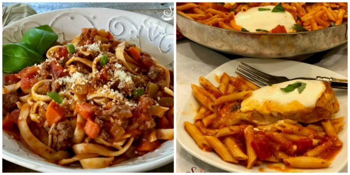 Fettuccine Bolognese and Chicken Parmesan Pasta