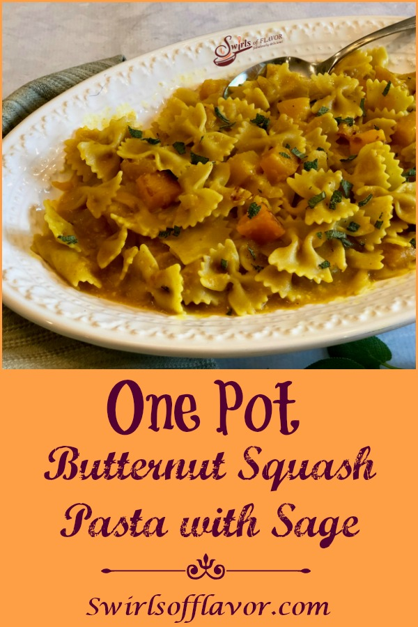 The sweetnutty flavorof butternut squash and fragrant aroma of fresh sage combine with pastain a light buttery saucemaking One Pot Butternut Squash Pasta With Sageyour soon-to-be favorite vegetarian one pot dinner. #onepot #pasta #butternutsquash #sage #easyrecipe #dinner #entertaining #meatlessmonday #vegetarian #weeknightdinner #swirlsofflavor