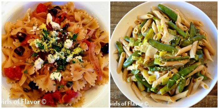 Greek Lemon Dill Pasta and Springtime Pasta Primavera
