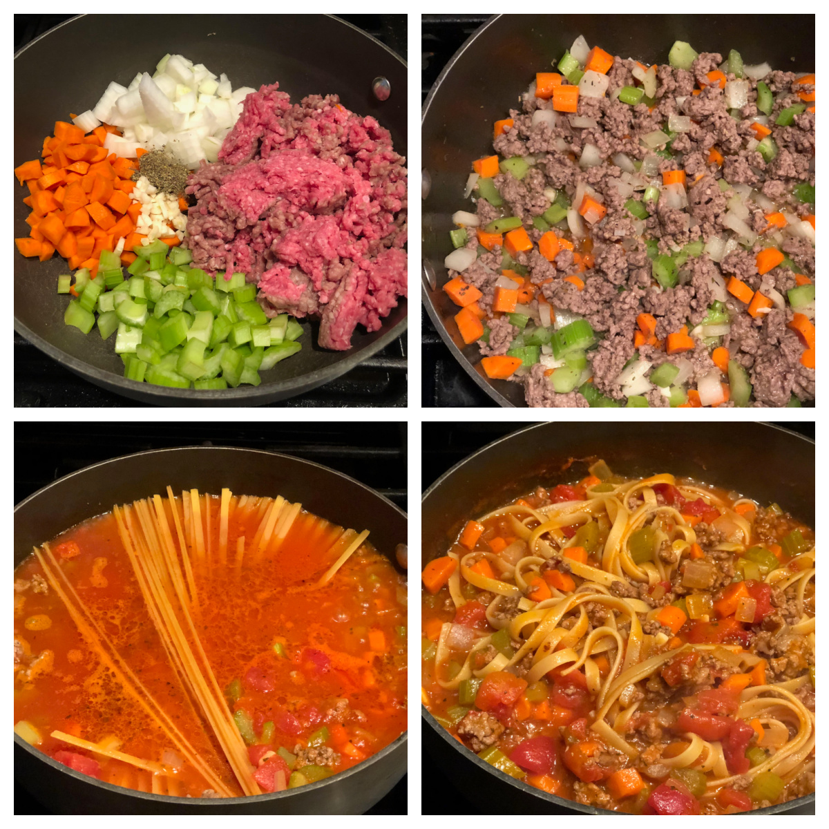 step by step photos of how to make fettuccine bolognese