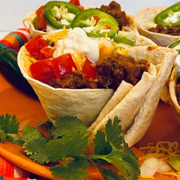 beef taco cups with cilantro