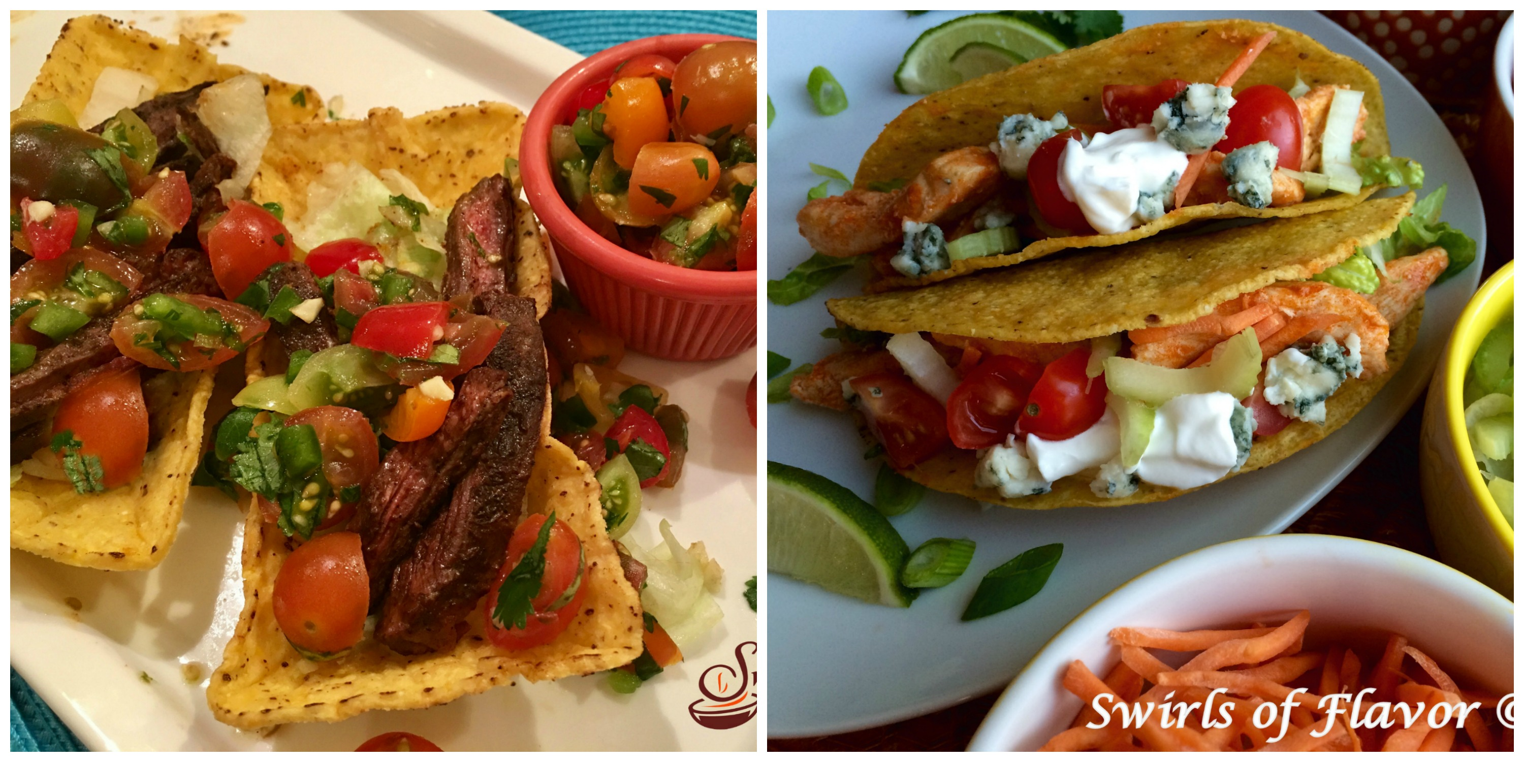 Steak Tacos and Buffalo Chicken Tacos
