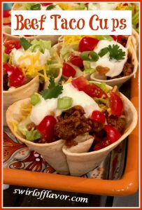 ground beef tacos in tortilla cups with text overlay
