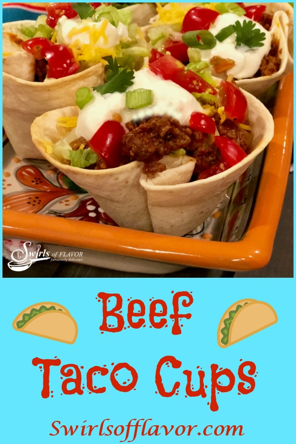 Beef Taco Cups is an easy recipe that will soon become your favorite and fun way to celebrate Taco Tuesday! Tortillas bake into cute crunchy cups that are filled with our saucy beef mixture and taco toppings. #tacos #tacocups #groundbeef #tacotuesday #funforkids #easyrecipe #tortillacups #swirlsofflavor