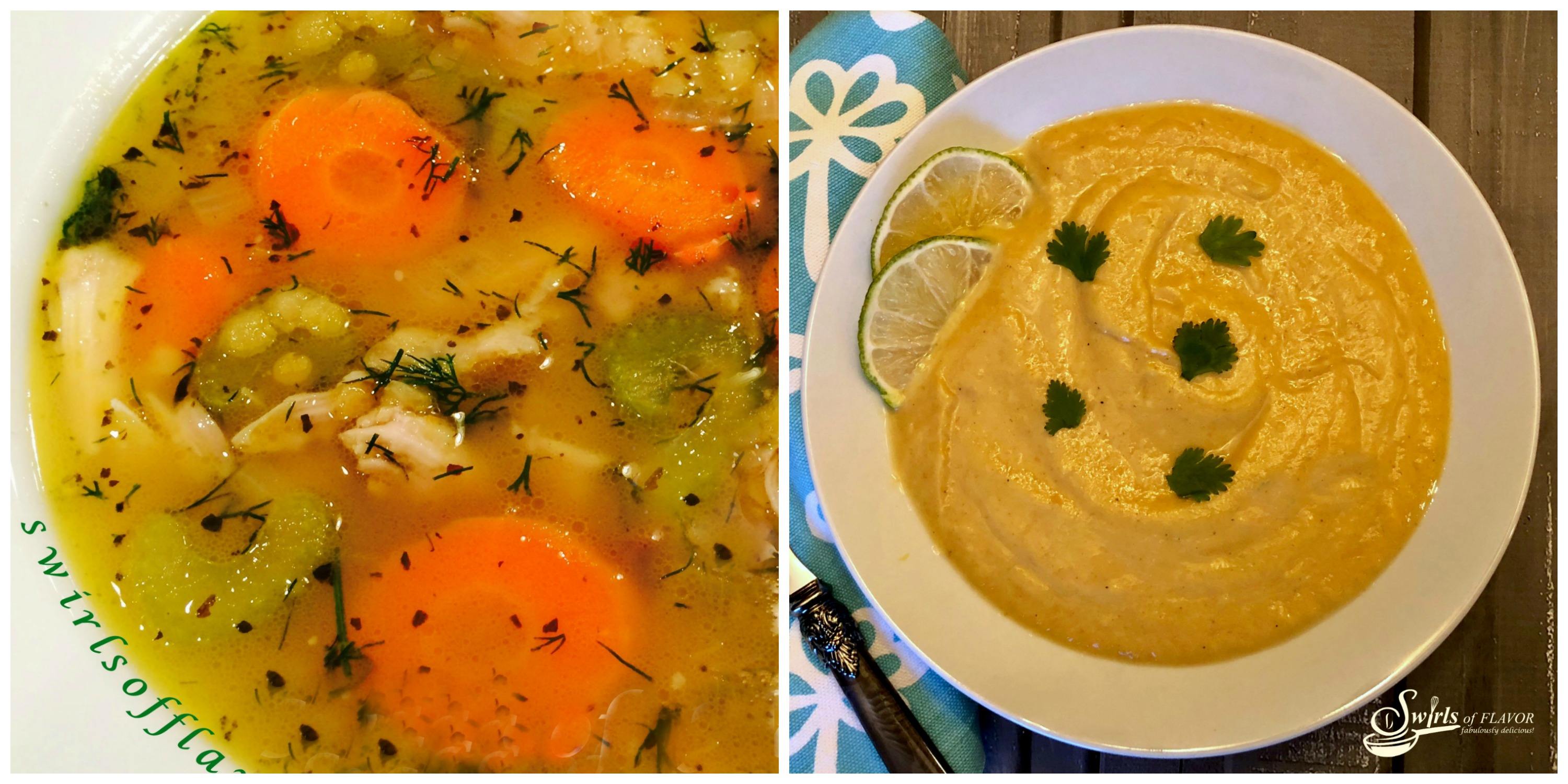 Chicken Lentil Soup and curried Cauliflower Soup