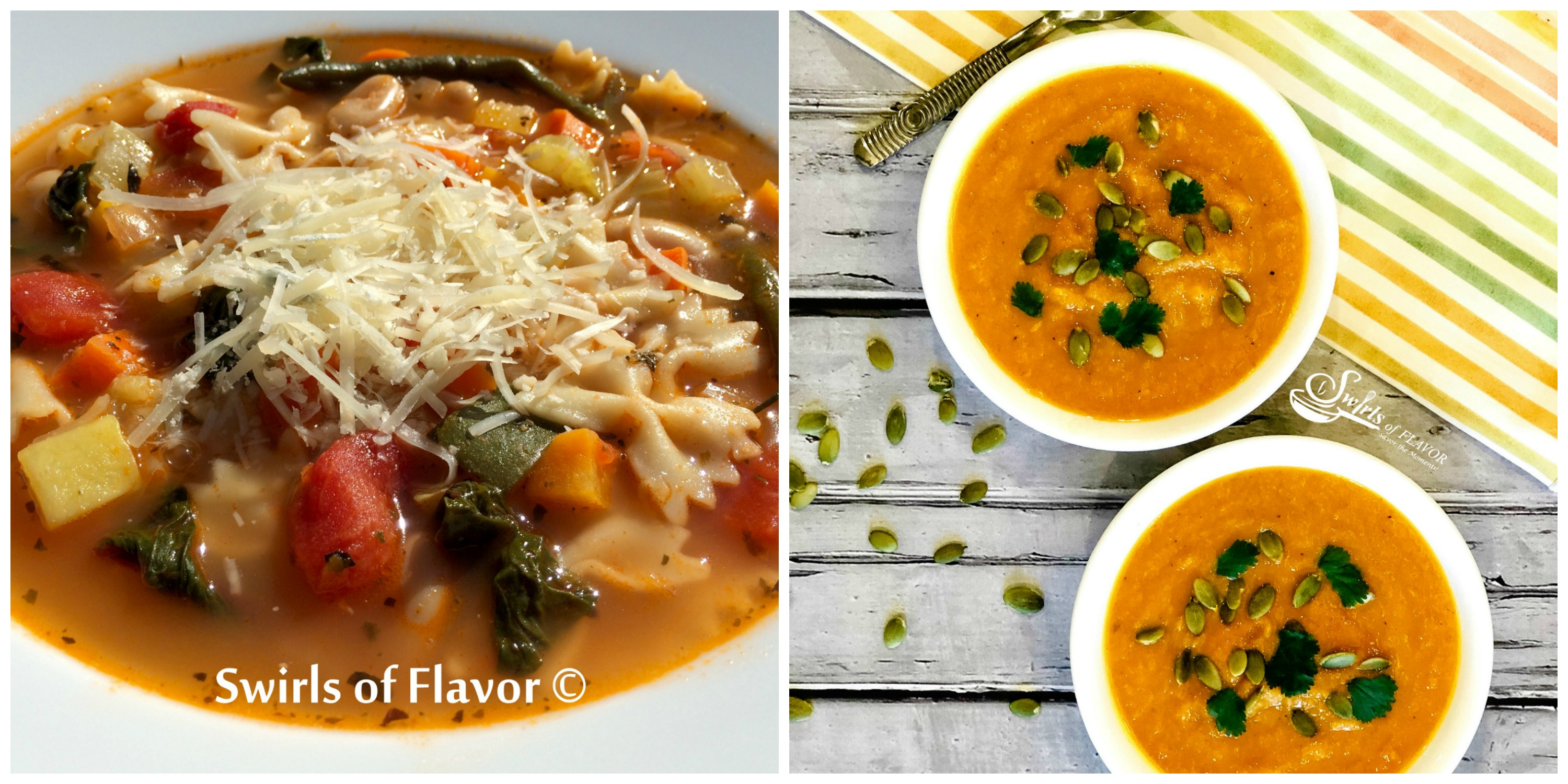 Pesto Minestrone Soup and Carrot Ginger Soup