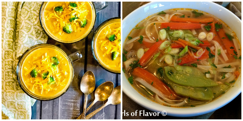 Broccoli Cheddar Soup and Thai Vegetable Soup