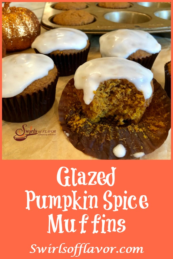 Glazed Pumpkin Spice Muffins combine pumpkin puree and pumpkin pie spice for moist muffins bursting with warm seasonal spices topped with a sweet sugar glaze. An easy recipe made with just a few basic ingredients make this Pumpkin Spice Muffin recipe your new go-to favorite recipe. Perfect for breakfast, as a sweet snack or even for dessert! #pumpkinspice #pumpkinpiespice # pumpkinrecipes #muffins #homemade #baking #breakfast #brunch #dessert #easyrecipe #pumpkinmuffins #swirlsofflavor