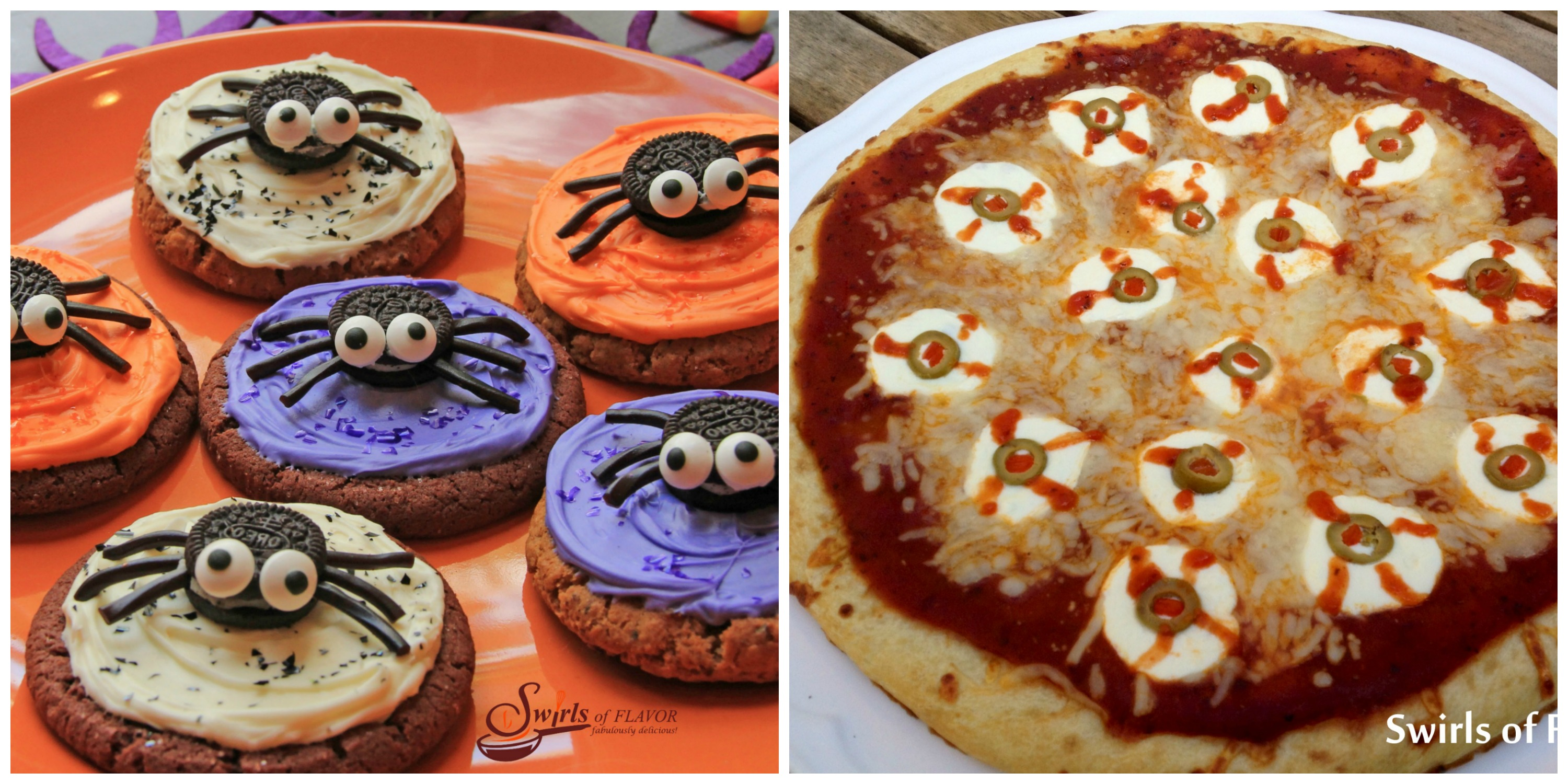 Spider Cookies and Eyeball Pizza