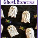 Halloween brownies with text overlay