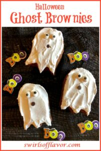 ghost brownies with sugar eyes and chocolate chip mouth and text overlay