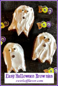 three ghost shaped brownies with text overlay