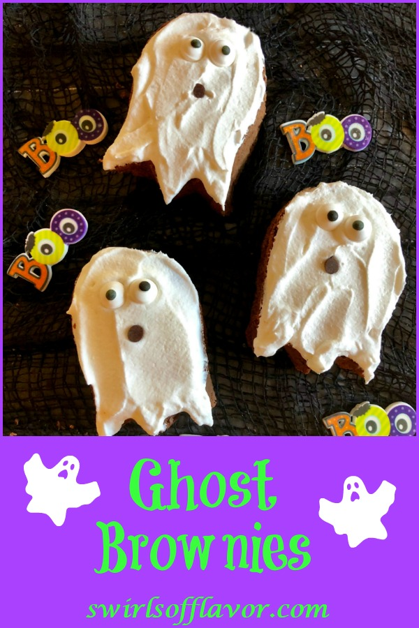 Halloween Ghost Brownies will be a spooky addition to your Halloween festivities! An easy recipe for homemade brownies with a whipped topping and sugar eyes, these Halloween brownies will be a ghostlysweet treat for everyone. #easyrecipe #brownies #homemadebrownies #Halloweendessert #Halloweenbrownies #ghostbrownies #onebowlbrownies #swirlsofflavor