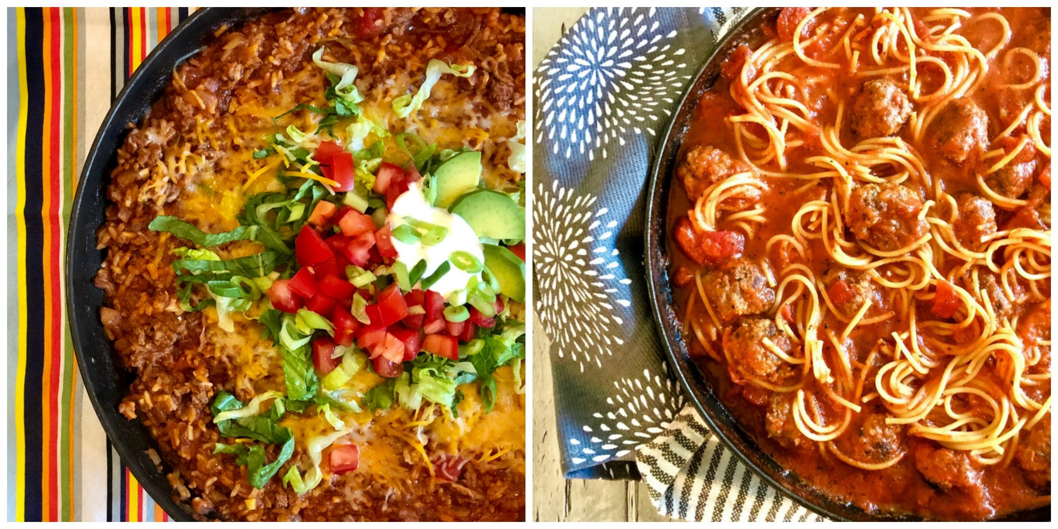 One Pot Taco Beef and One Pot Spaghetti and Meatballs