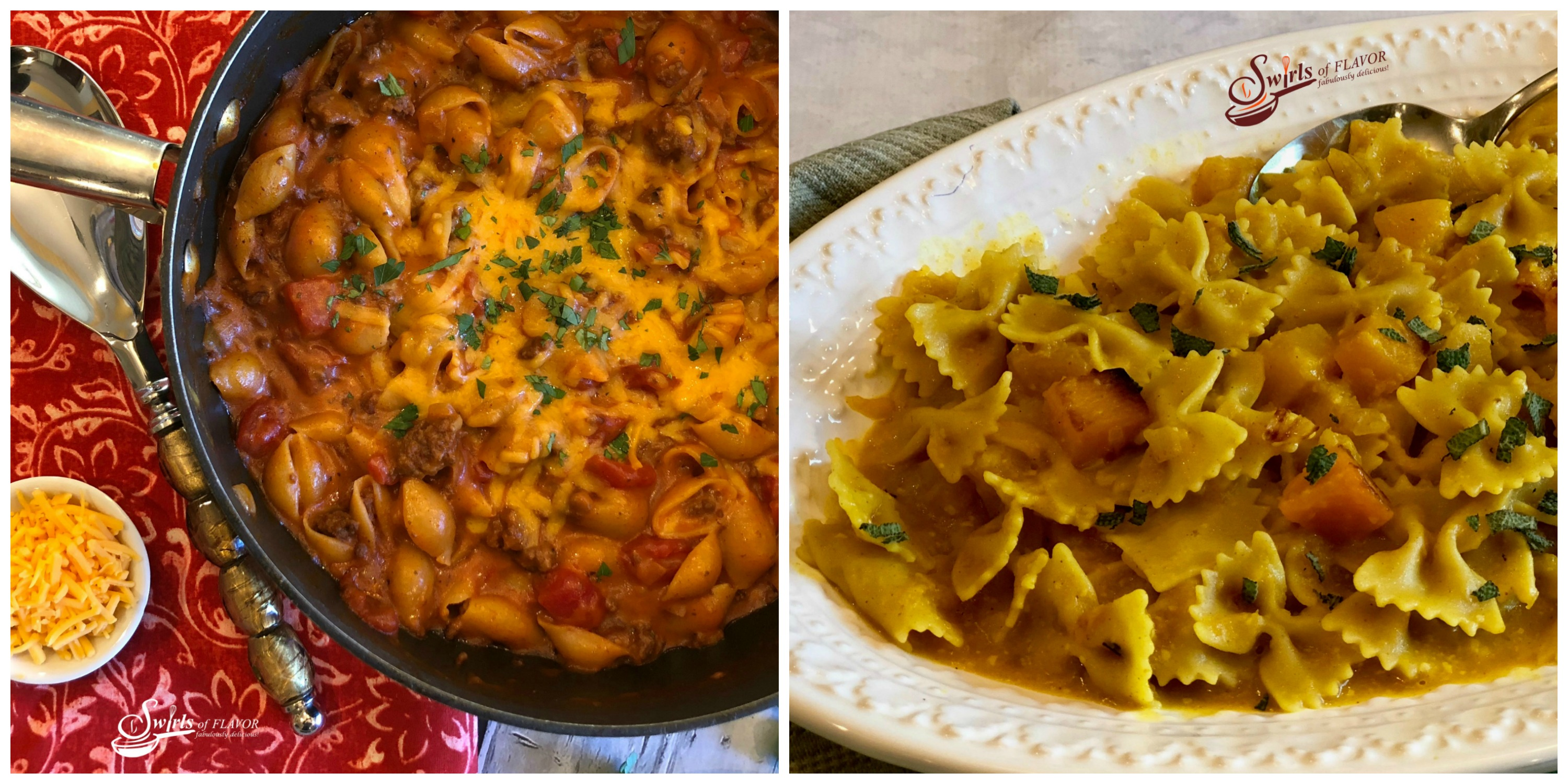 Chili Mac N Cheese and Butternut Squash Pasta and Sage
