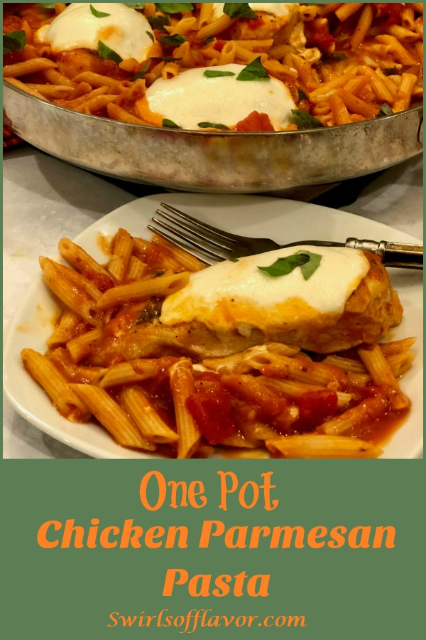 One Pot Chicken Parmesan Pasta is an easy recipe bursting with all the flavors of Chicken Parmesan, seasoned chicken, penne pasta, tomato sauce and cheese, that cook up all together for a quick weeknight dinner that's ready in just 30 minutes! #onepotdinner #chickenparmesan #skilletdinner #pasta #penne #easydinner #weeknightdinner #lessthan30minutes #cheese #onepot #swirlsofflavor