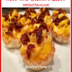 bacon macaroni and cheese in fillo shells with text overlay