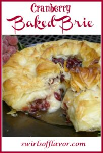 cranberry brie with phyllo dough and text overlay