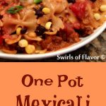 One Pot Mexicali Bowtie Pasta, an easy recipe for a busy weeknight dinner that cooks in just minutes in one pot, and is bursting with corn, black beans, pasta and cheesiness! Bowtie pasta cooks together in one pot, with salsa, butter, chili powder and cumin that becomes a light flavorful sauce, for a pasta dinner with a Mexican flair.
