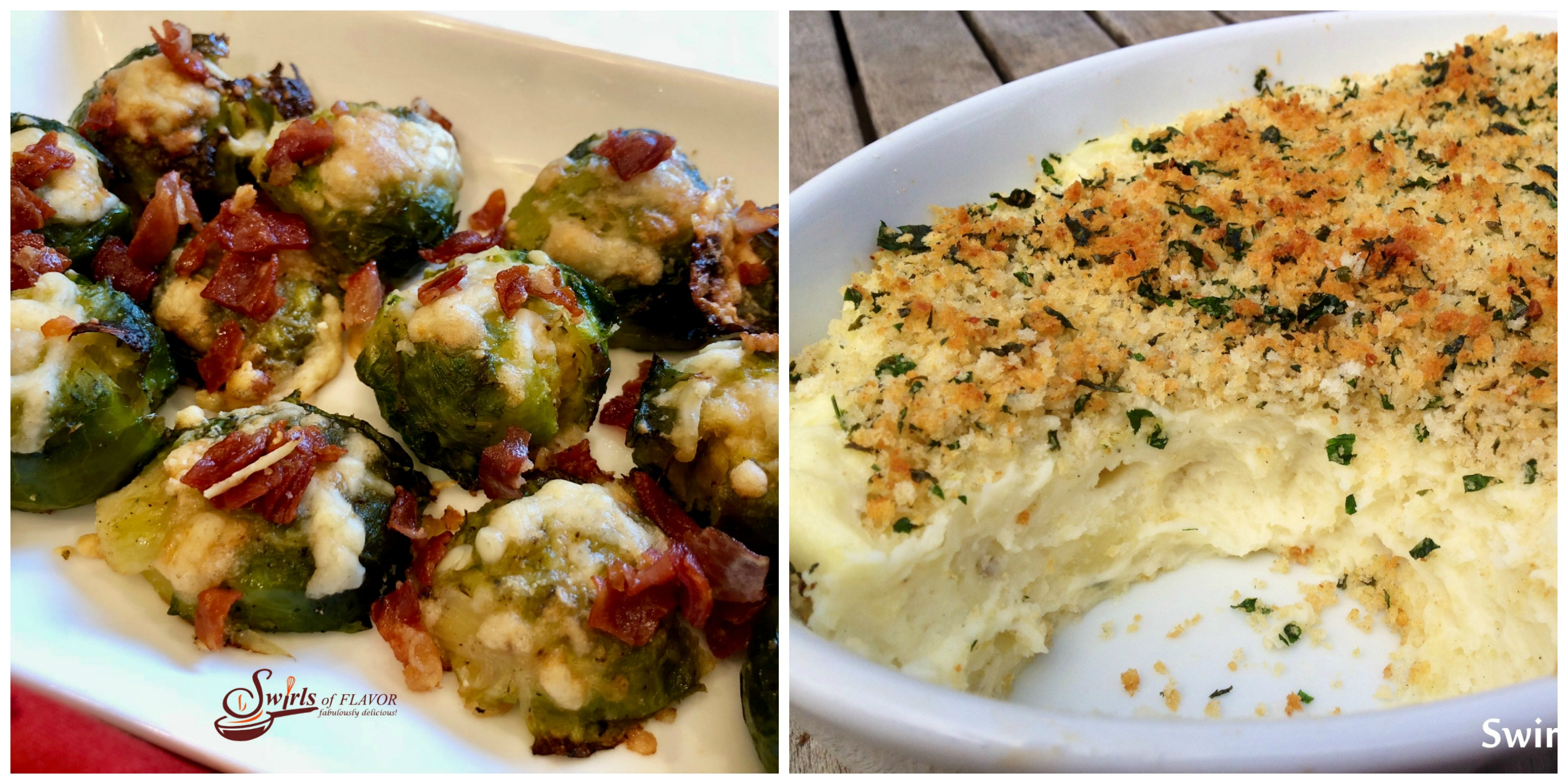 Smashed Brussel Sprouts and Panko Garlic Mashed Potatoes