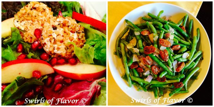 Mixed Greens With Apples and Pomegranate and Buttery Green Beans