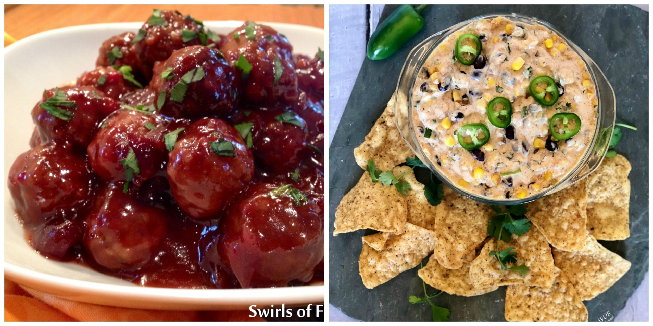 Cranberry meatballs and Black Bean Corn Dip