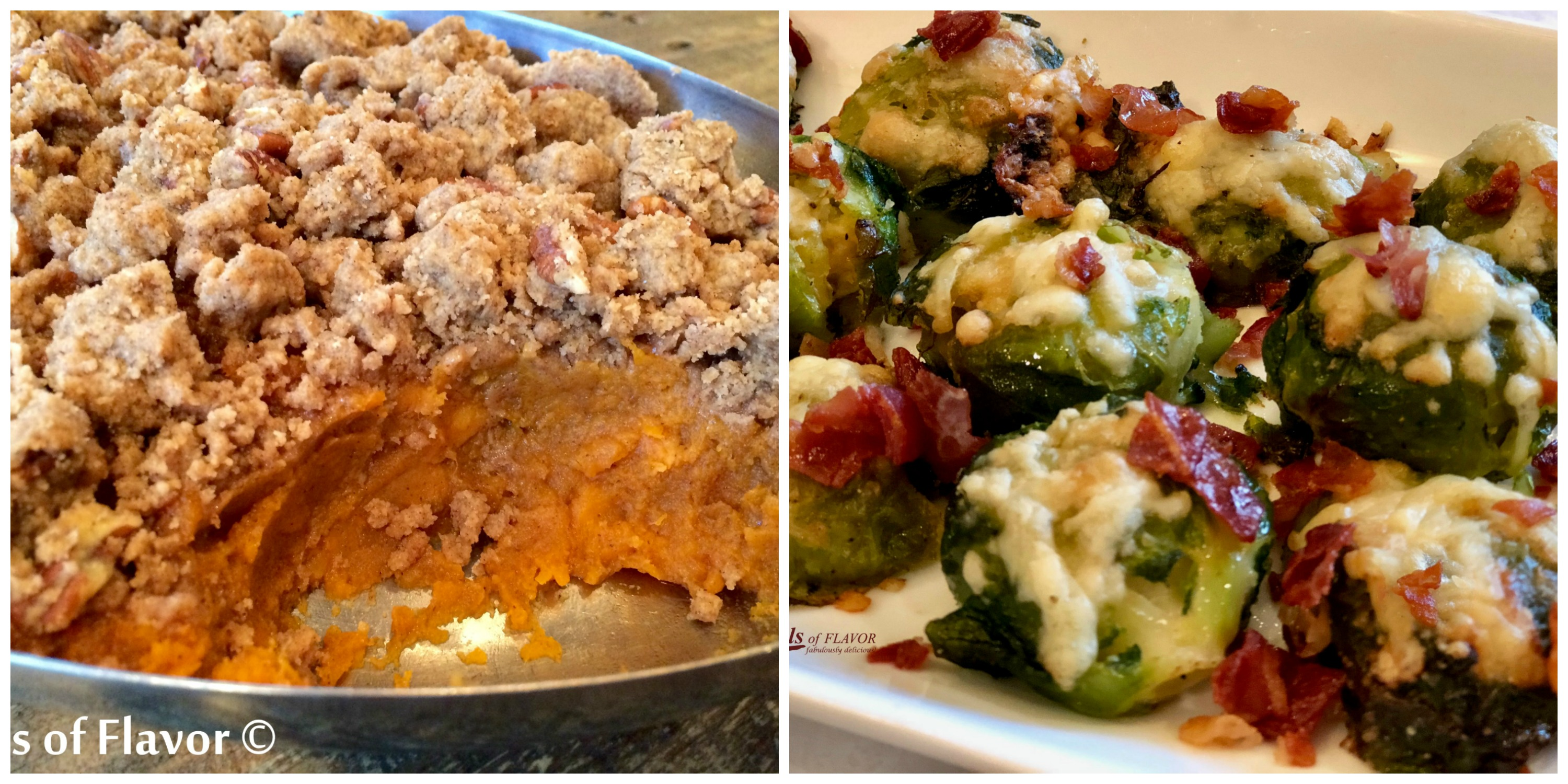 Pecan Crumb Sweet Potatoes and Smashed Brussels Sprouts