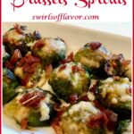 roasted brussels sprouts with cheese and text overlay