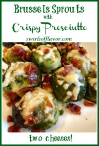 cheese and prosciutto on brussels sprouts with text overlay