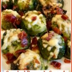 smashed brussels sprouts on platter with text overlay