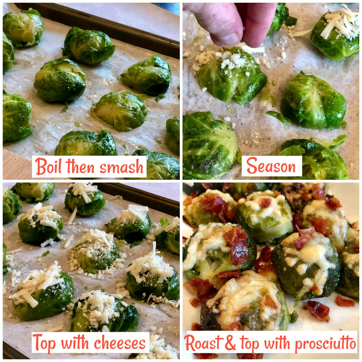 step by step photos for making smashed Brussels sprouts