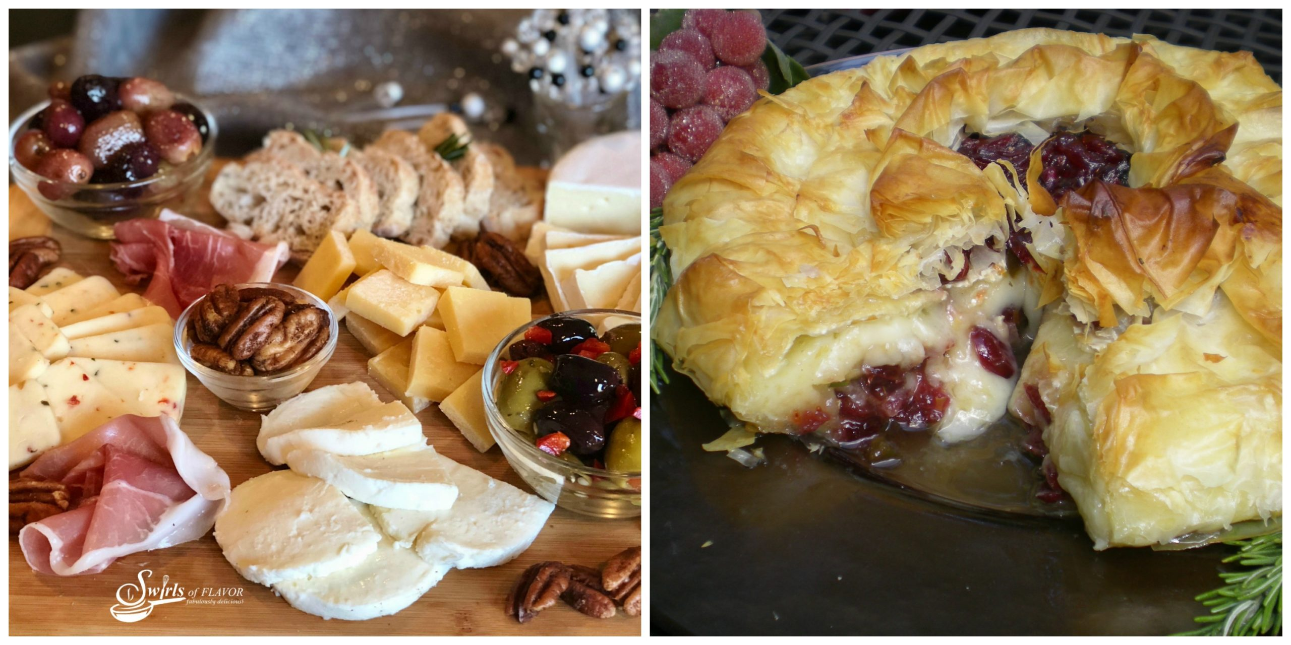 Holiday Cheese Board and Baked Brie