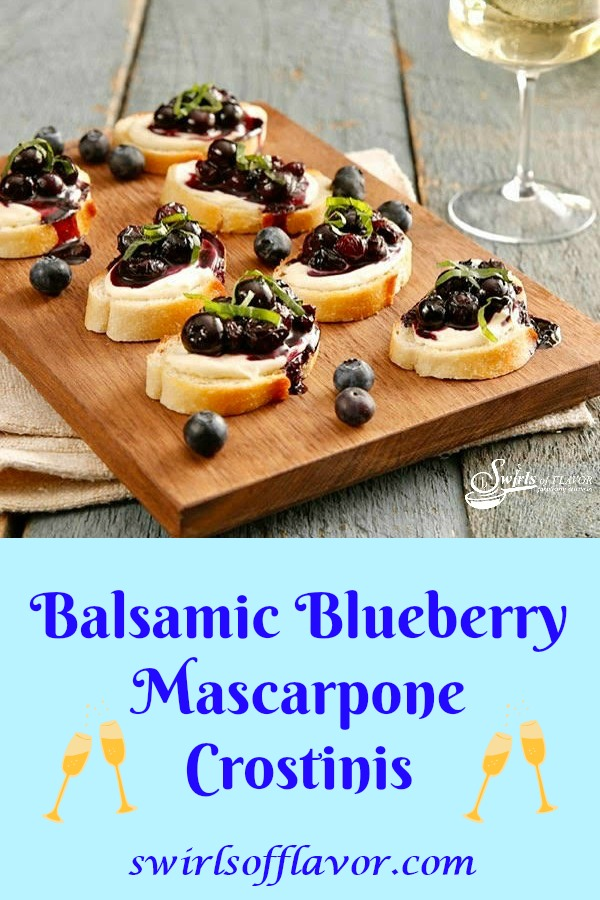 Balsamic Blueberry Mascarpone Crostinis is a quick and easy appetizer recipe. Perfect for last minute entertaining, toasts are topped with a sweet and tangy mascarpone cheese and a blueberry compote with hints of balsamic vinegar and fresh basil, a delicious flavor combination. #appetizer #entertaining #holiday #newyearseve #christmas #summer #blueberry #balsamicvinegar #cheese #easyrecipe #swirlsofflavor