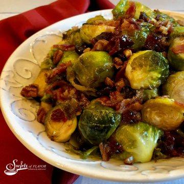 Brown Sugar Brussels Sprouts in a bowl