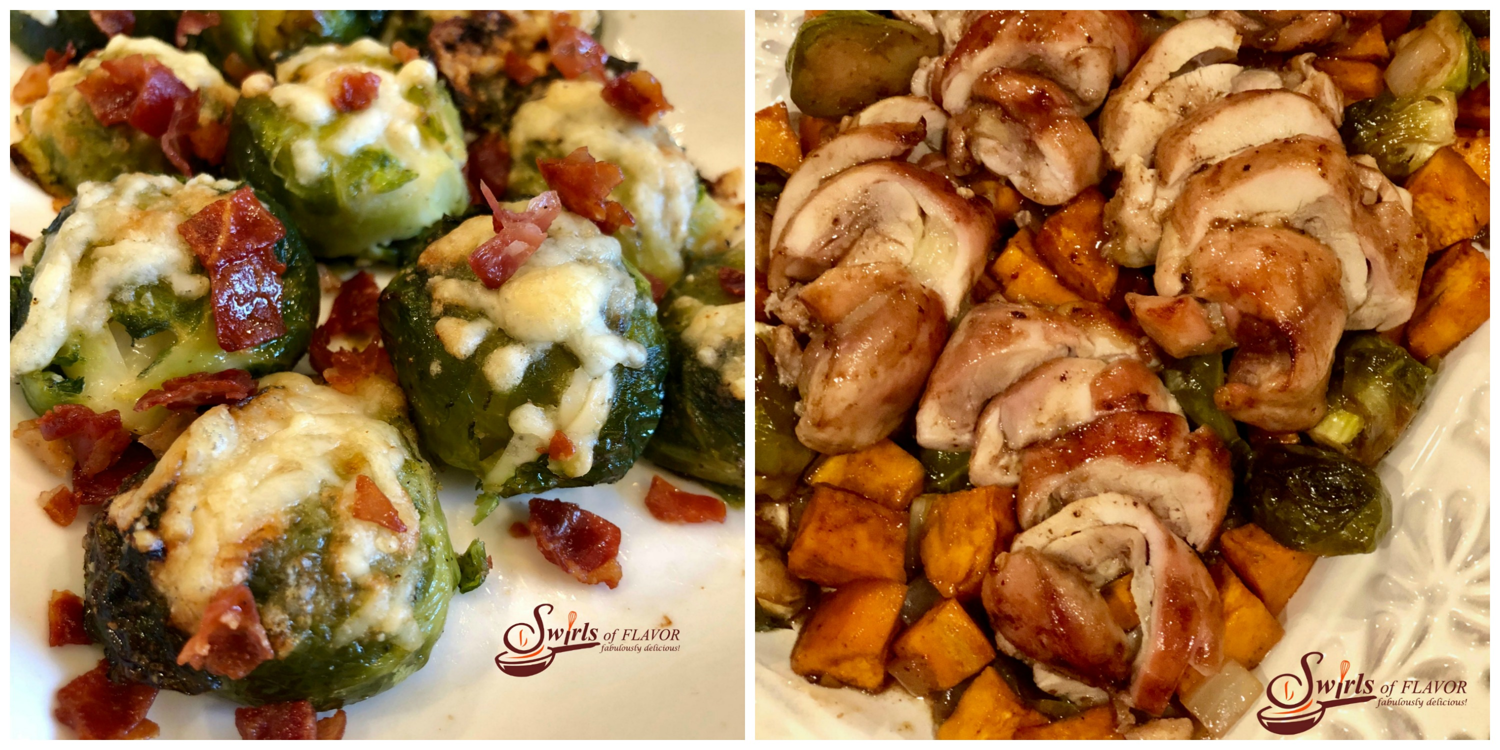 Smashed Brussels Sprouts ad Sheet Pan Chicken and Brussels Sprouts