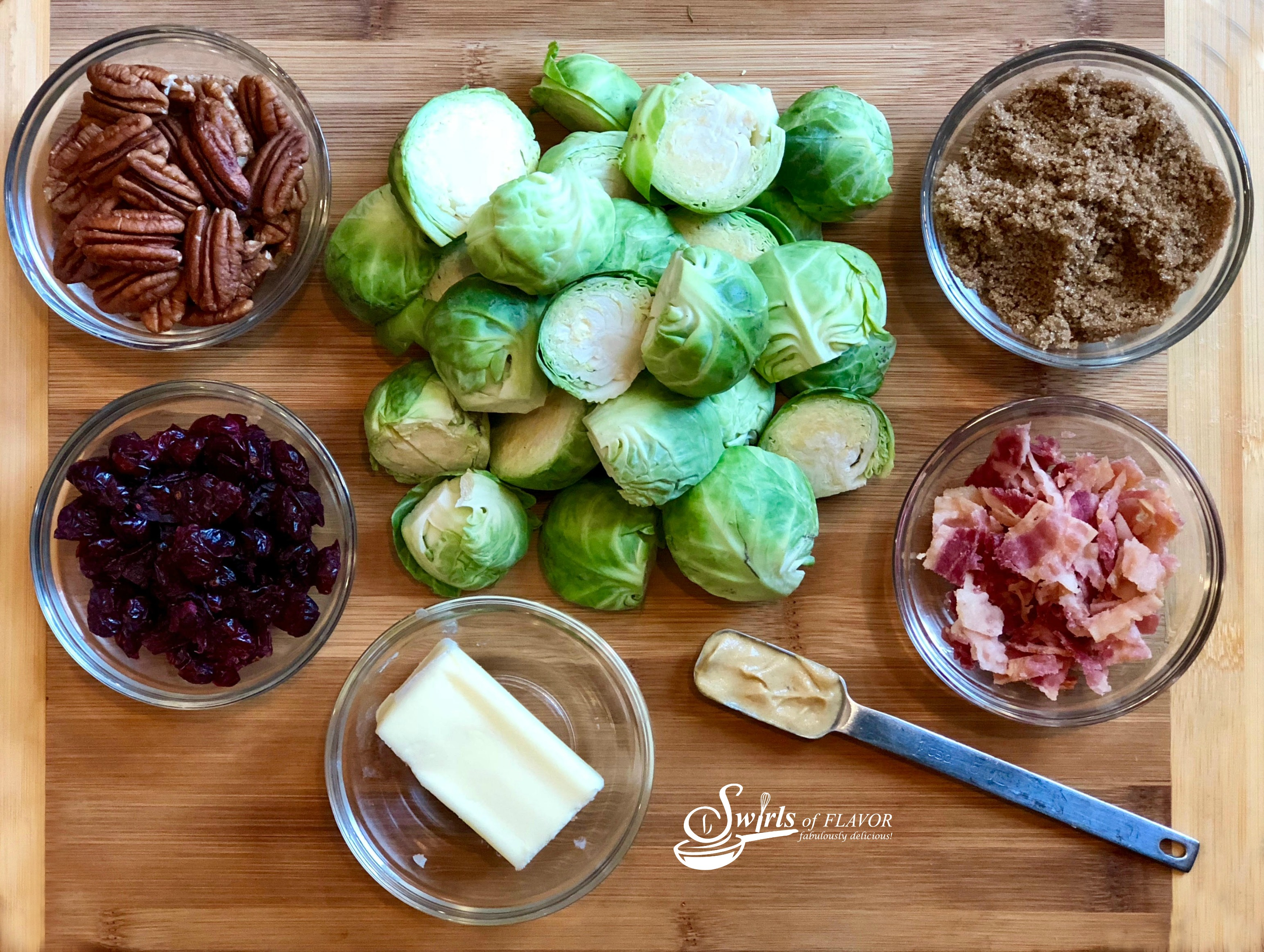 ingredients for Brussel sprouts with bacon