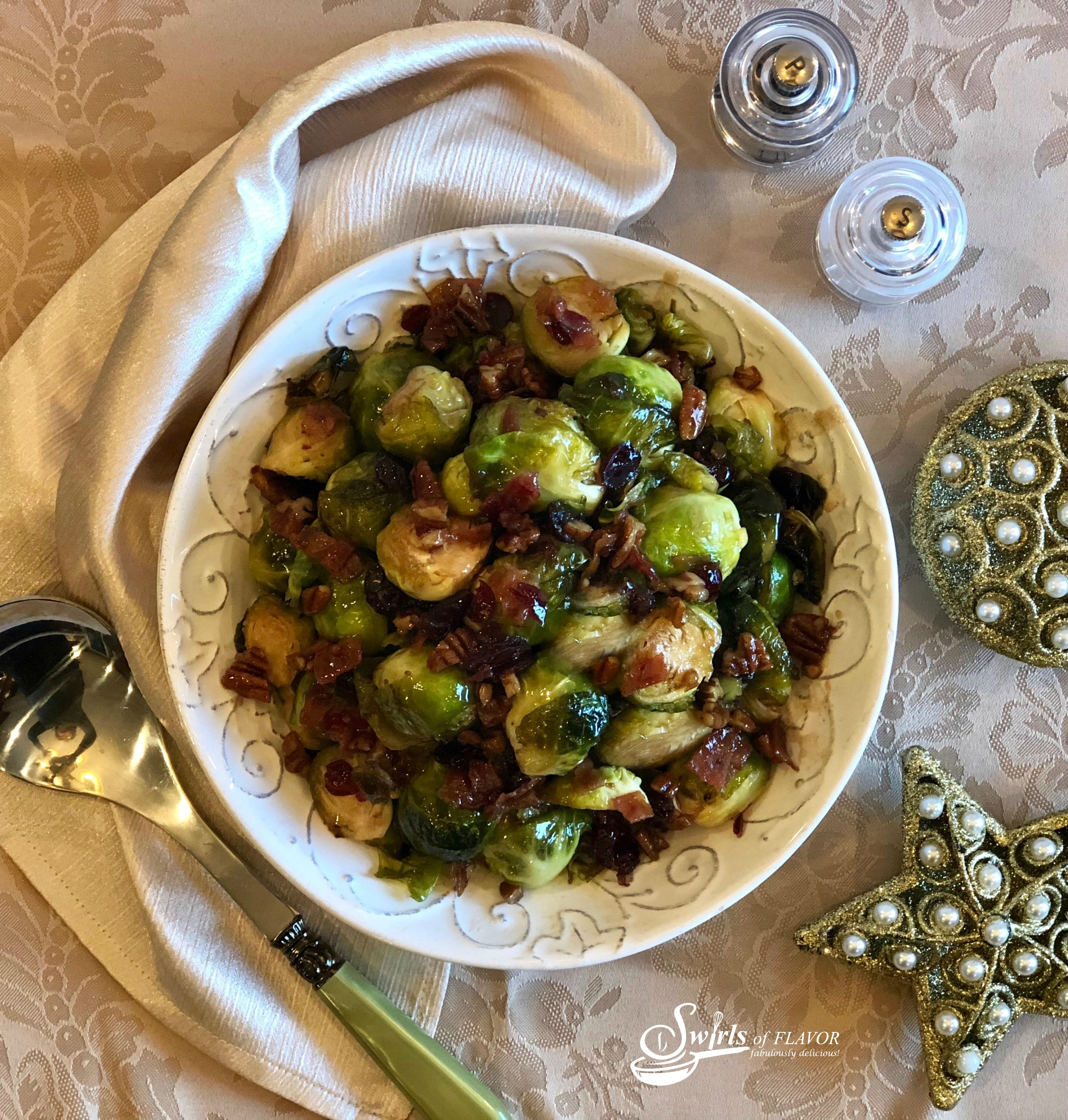 Brussel Sprouts with brown sugar and bacon in white bowl