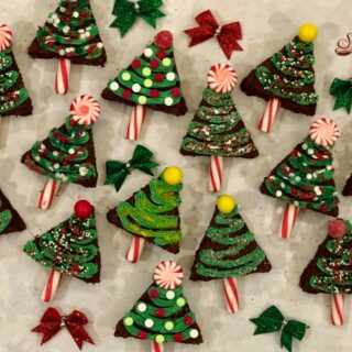 decorated Christmas tree brownies