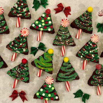 decorated Christmas tree brownies