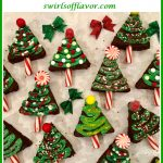 brownies shaped like Christmas trees with text overlay