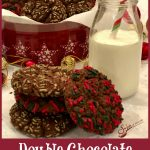 Double Chocolate Espresso Cookies combine the flavors of chocolate and coffeein a decadent cookie for the holiday season. When deep rich chocolate cookie dough is flavored with espresso, studded with mini chocolate chips and rolled in festive holiday sprinkles,every bite is an indulgence. An easy cookie recipeto add to your baking list, this is definitely thebest holiday cookie recipe around! #cookies #chocolate #espresso #coffee #holiday #baking #easyrecipe #mochaccino #swirlsofflavor