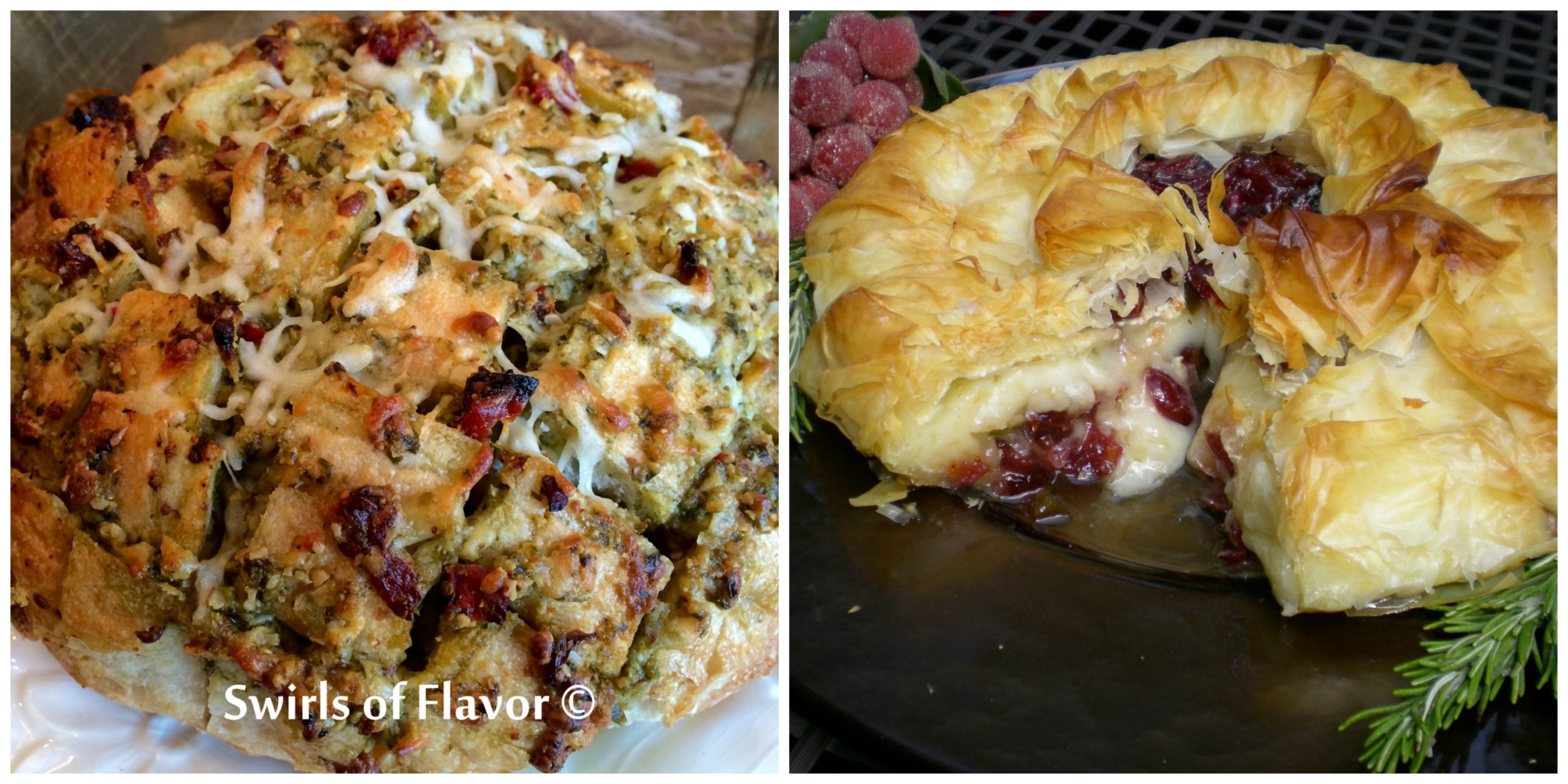Pull Apart Pesto Bread and Cranberry Baked Brie