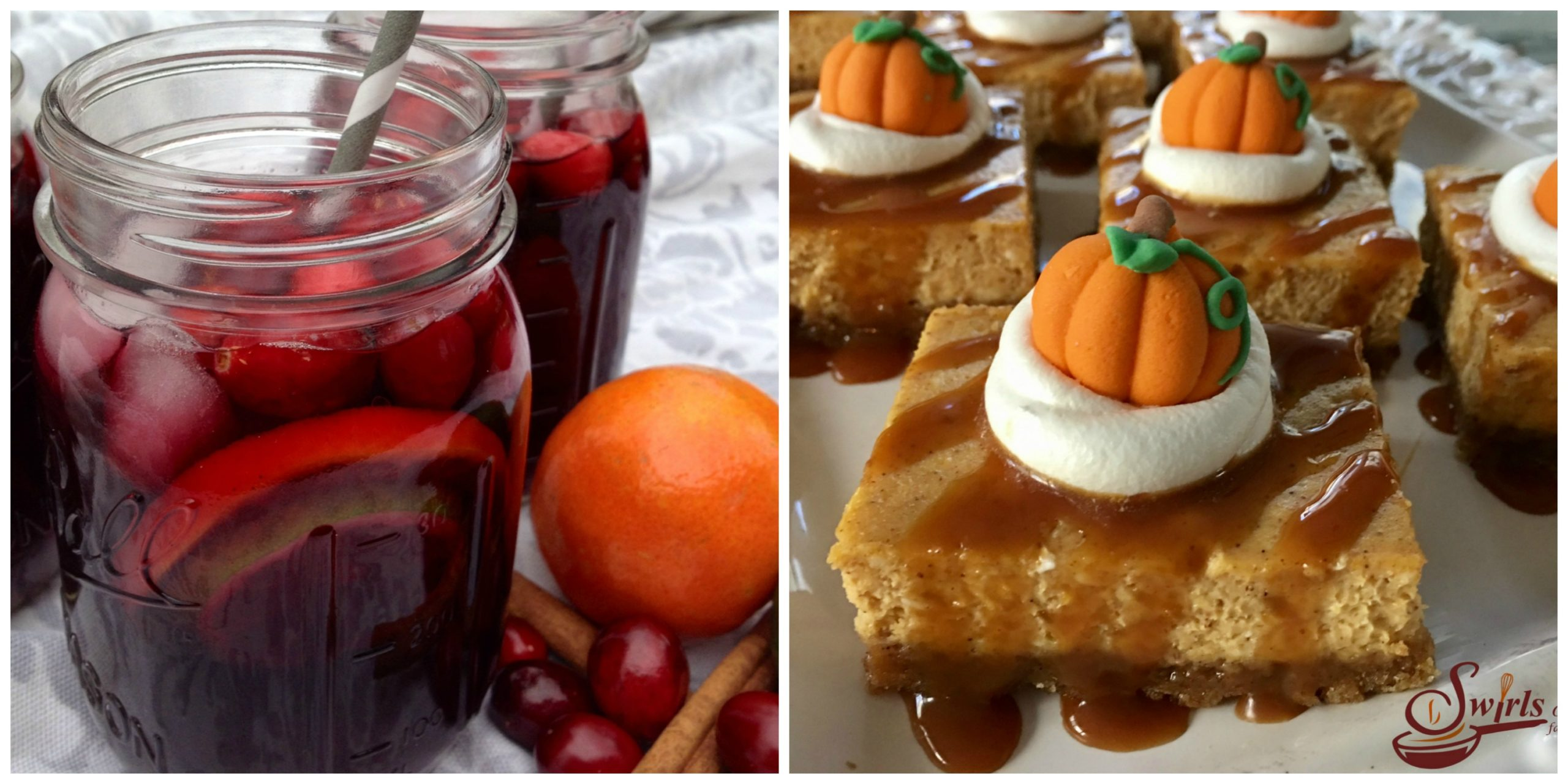 Cranberry Sangria and Pumpkin Cheesecake Bars