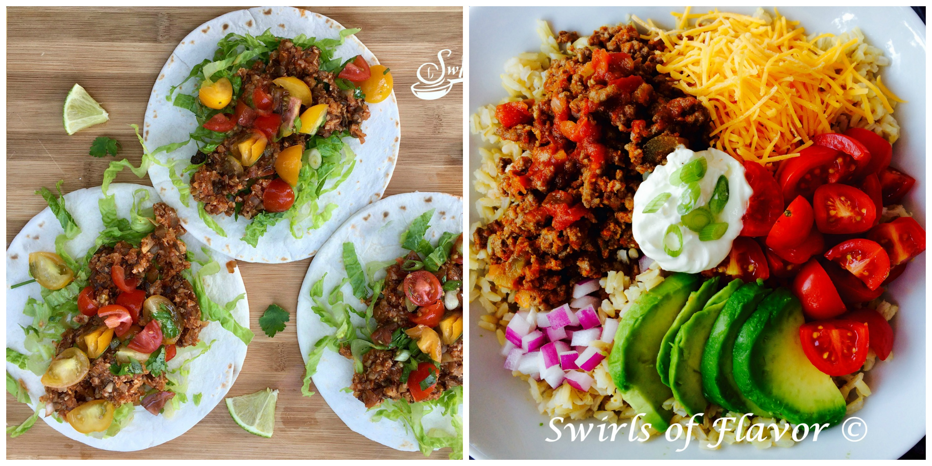 Cauliflower Tacos and Brown Rice Taco Bowl