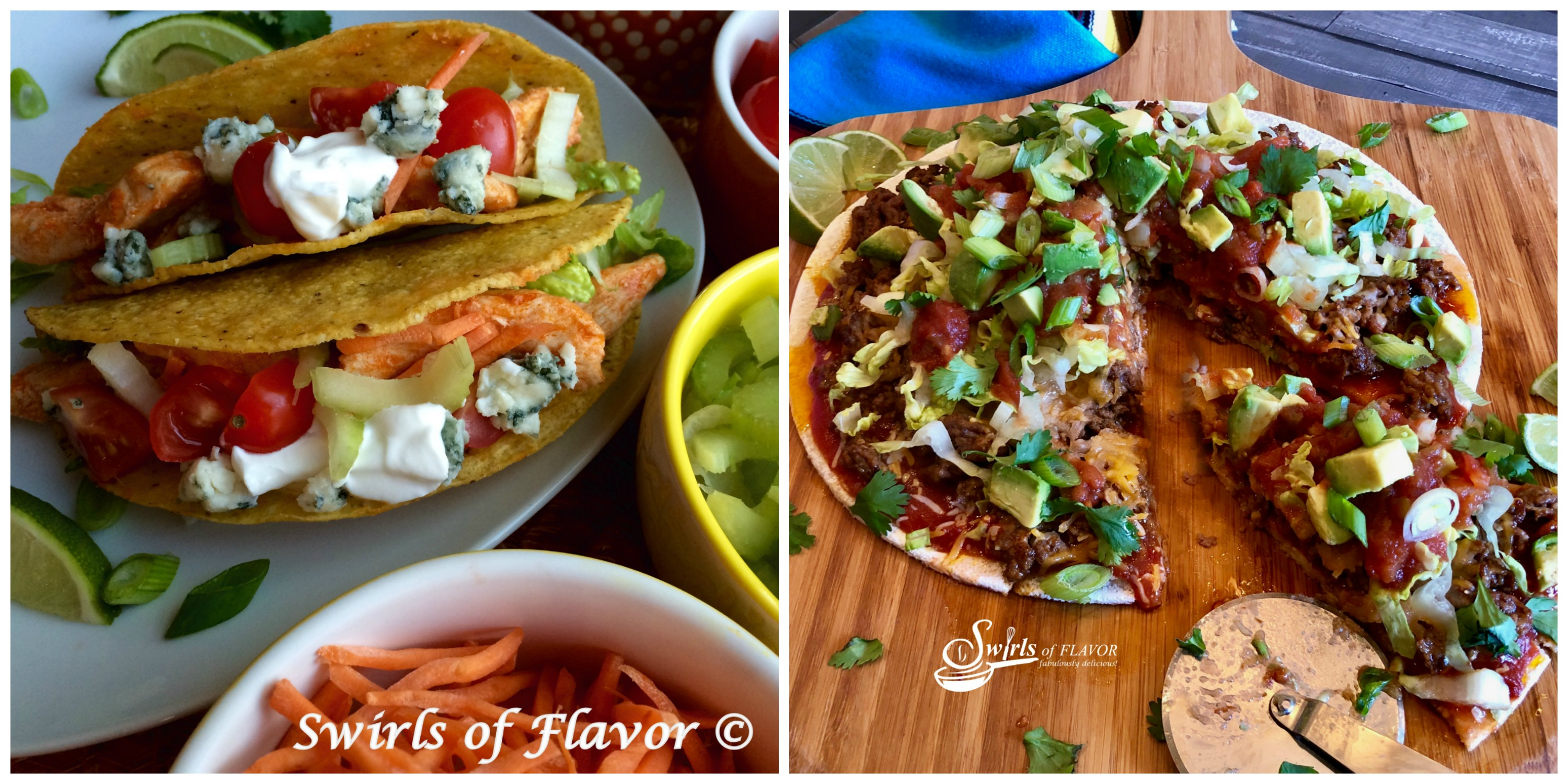 Buffalo chicken Tacos and Taco Pizza