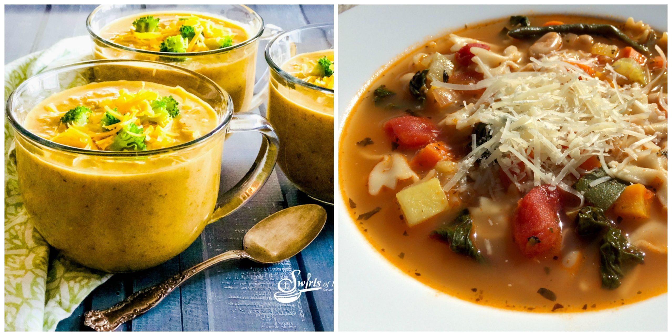 Cheddar Broccoli Soup and Pesto Minestrone