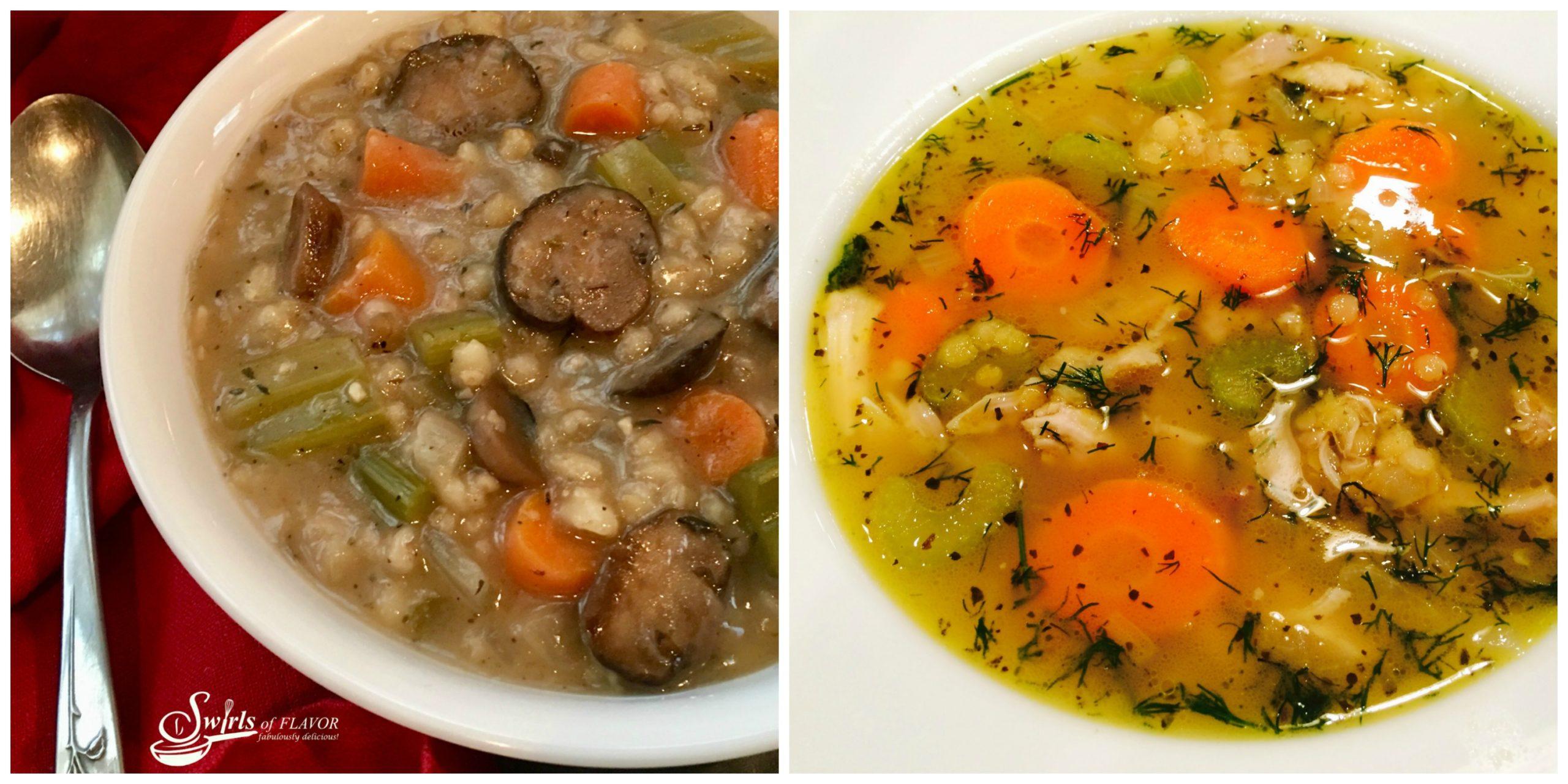 Mushroom Barley Soup and chicken Lentil Soup