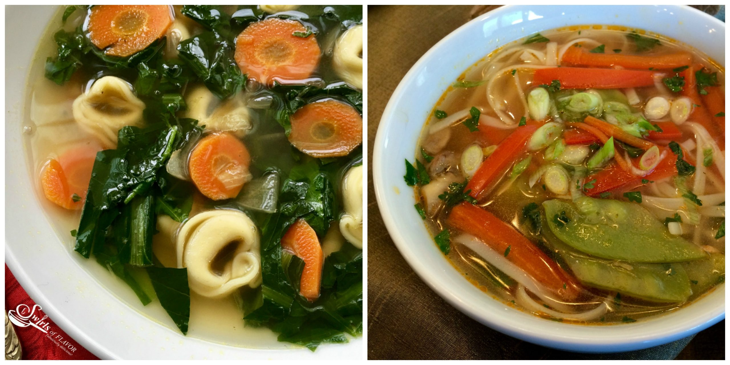 Dandelion Soup and Thai Vegetable Soup