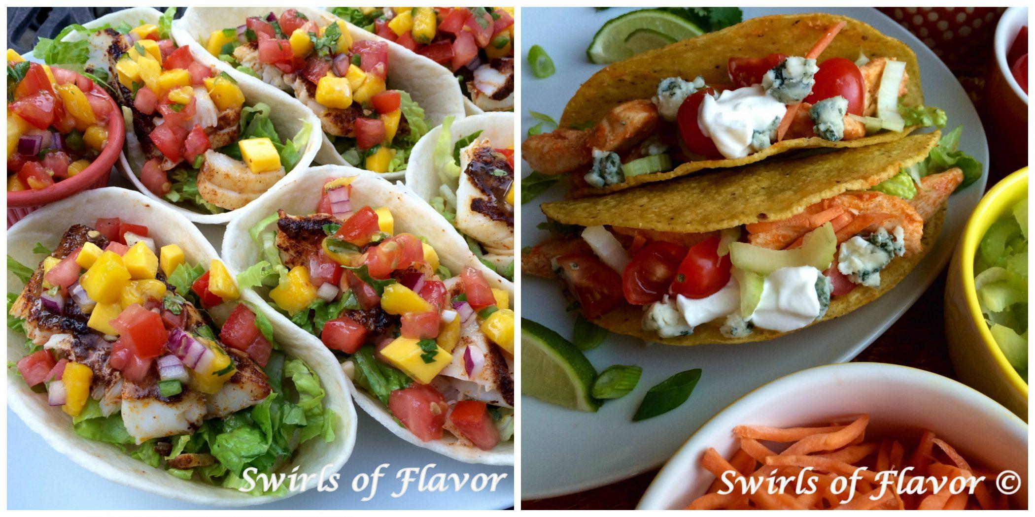 Fish Tacos and Buffalo Chicken Tacos