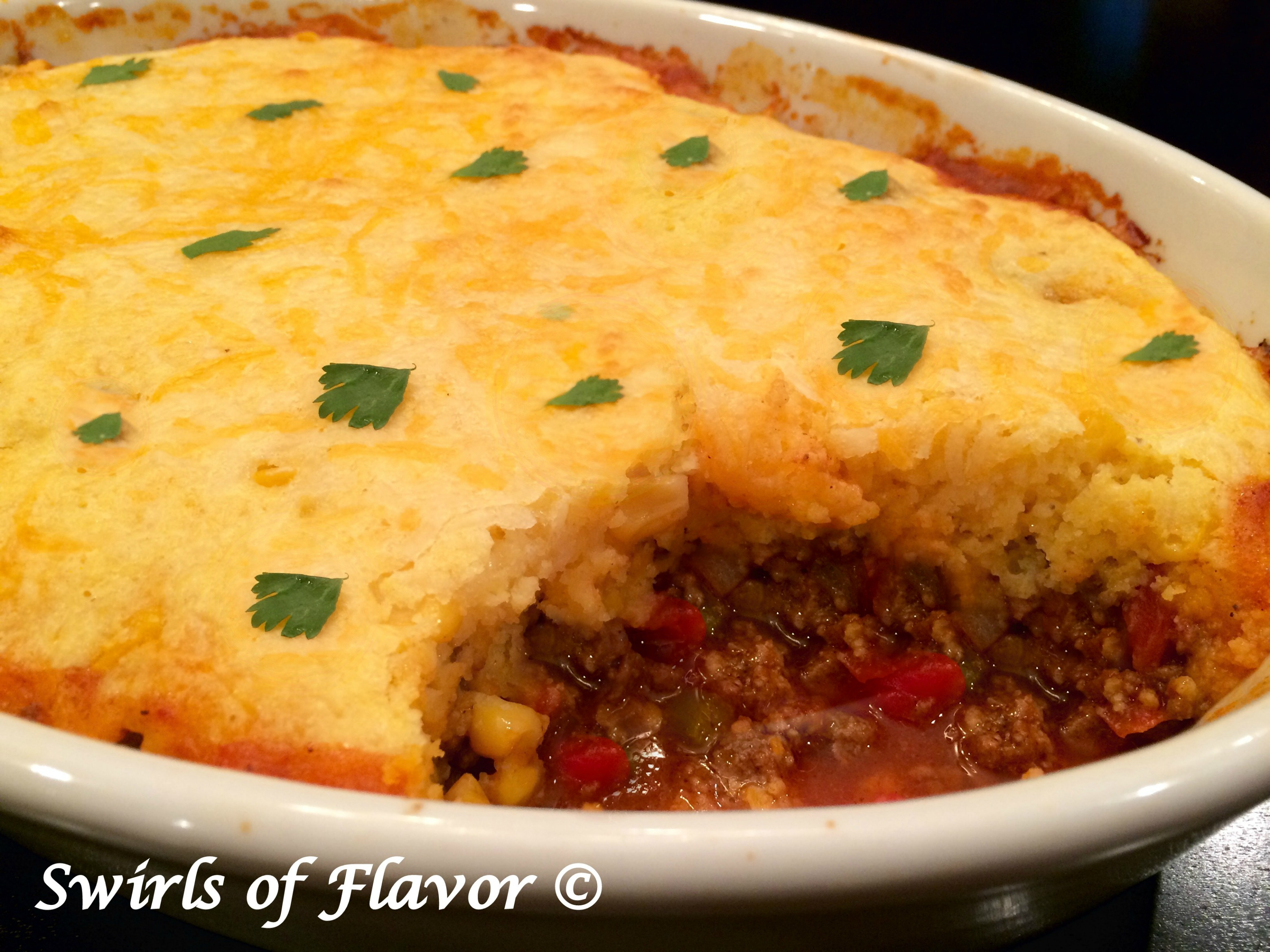 Chili Cornbread Bake with scoop out